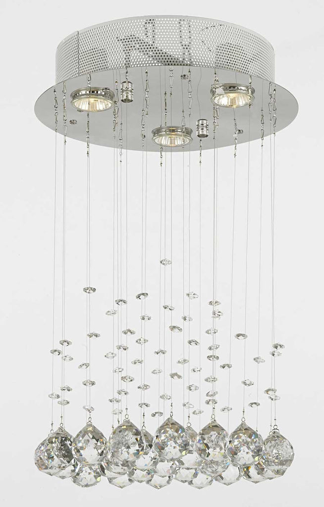 Modern Chandelier Rain Drop Lighting Crystal Ball Round Fixture Pendant Ceiling Lamp H18 X W12 3