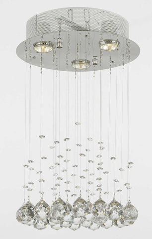 Modern Chandelier Rain Drop Lighting Crystal Ball round Fixture Pendant Ceiling Lamp H18 X W12 3 Lights Modern - C9071R-3-us