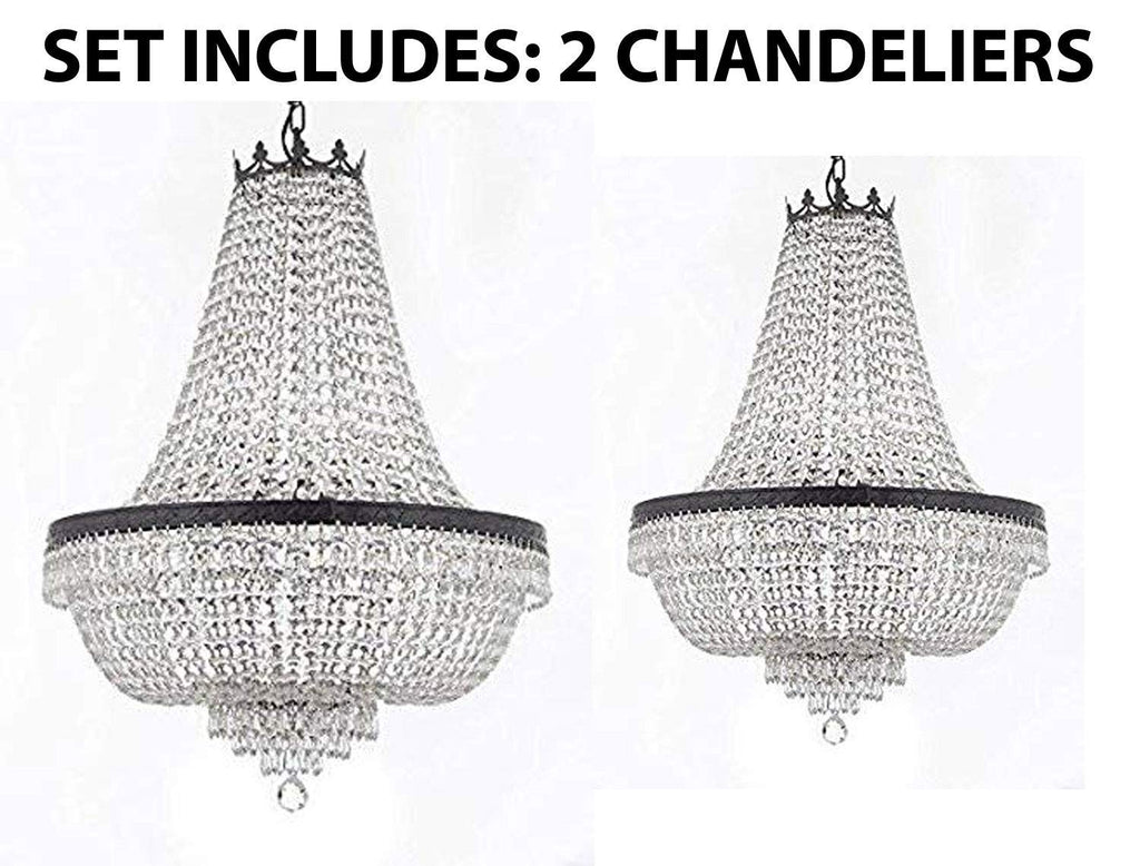 "Set of 2-1 French Empire Crystal Chandeliers Lighting H36"" X W30"" w/Dark Antique Finish! and 1 French Empire Crystal Chandeliers Lighting H30"" X W24"" w/Dark Antique Finish! - 1EA CB/870/14 + 1EA CB/870/9"