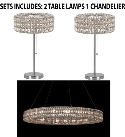 "Set of 3 - 2Crystal Spiridon Ring Modern/Contemporary Table Lamp Lighting H 28"" W15"" & 1 Crystal Spiridon Ring Chandelier Modern/Contemporary Lighting Pendant 59"" Wide-Good for Dining Room! H6.5""XW59"" - 2 EA TL/3063/3 + 1 EA 3063/21"