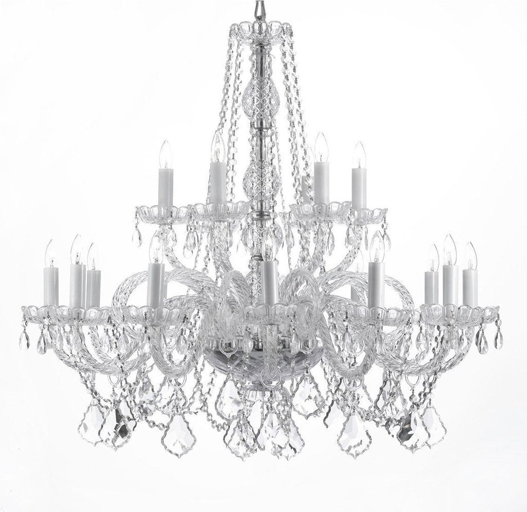 "Swarovski Crystal Trimmed Chandelier Crystal Chandelier Lighting H 38"" X W 37"" - A46-CS/385/9+9SW"