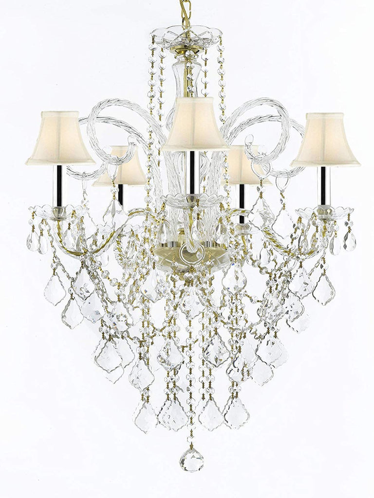 "MURANO VENETIAN STYLE ALL-CRYSTAL CHANDELIER LIGHTING WITH WHITE SHADES W/CHROME SLEEVES H30"" X W24""! - G46-B43/SC/WHITESHADE/CG/3/385/5"