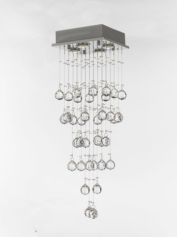 Modern Chandelier Rain Drop Lighting Crystal Ball Fixture Pendant Ceiling Lamp H31 X W10 4 Lights Modern - C9079/4