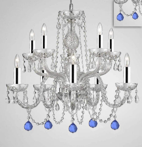 "Chandelier Lighting Crystal Chandeliers H25"" X W24"" 10 Lights w/Chrome Sleeves - Dressed w/Blue Crystal Balls! Great for Dining Room, Foyer, Entry Way, Living Room, Bedroom, Kitchen! - G46-B43/B99/CS/1122/5+5"