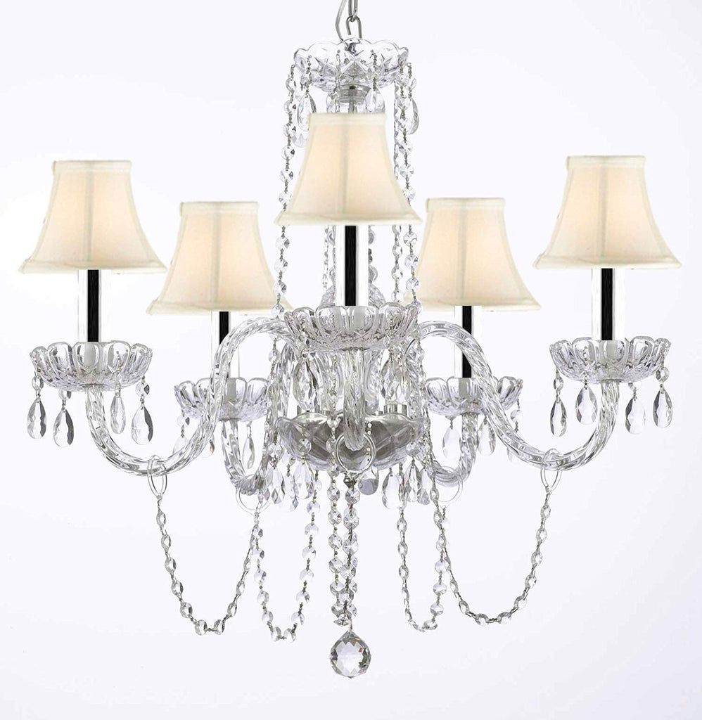 "Murano Venetian Style All-crystal Chandelier with White Shades w/Chrome Sleeves H25"" W24"" - G46-B43/SC/WHITESHADE/381/5"