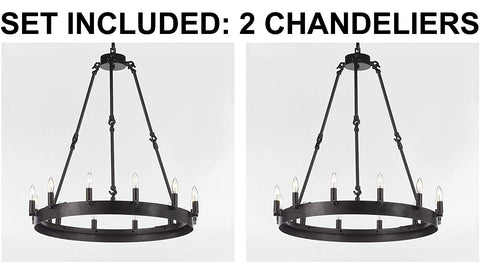 "Set of 2 - Wrought Iron Vintage Barn Metal Castile One Tier Chandelier Chandeliers Industrial Loft Rustic Lighting W 26"" H 27"" - 2EA G7-3428/12"