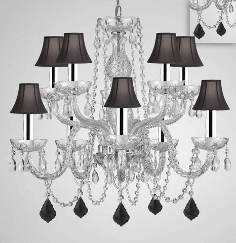 "Chandelier Lighting Crystal Chandeliers H25"" X W24"" 10 Lights w/Chrome Sleeves - Dressed w/Jet Black Crystals! Great for Dining Room, Foyer, Entry Way, Living Room, Bedroom, Kitchen! w/Black Shades - G46-B43/B97/BLACKSHADES/CS/1122/5+5"