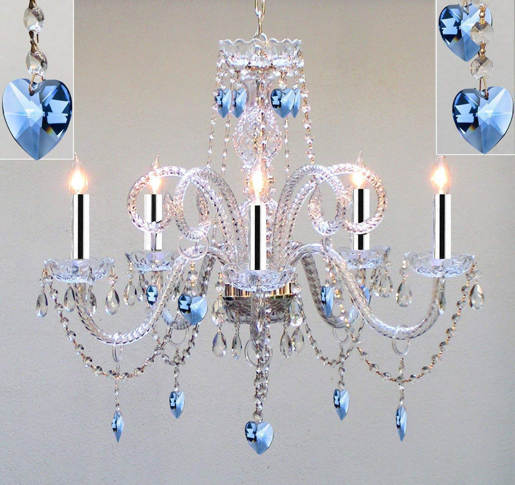 "Authentic All Crystal Chandelier Chandeliers Lighting with Sapphire Blue Crystal Hearts! Perfect for Living Room, Dining Room, Kitchen, Kid's Bedroom w/Chrome Sleeves! H25"" W24"" - A46-B43/B85/387/5"