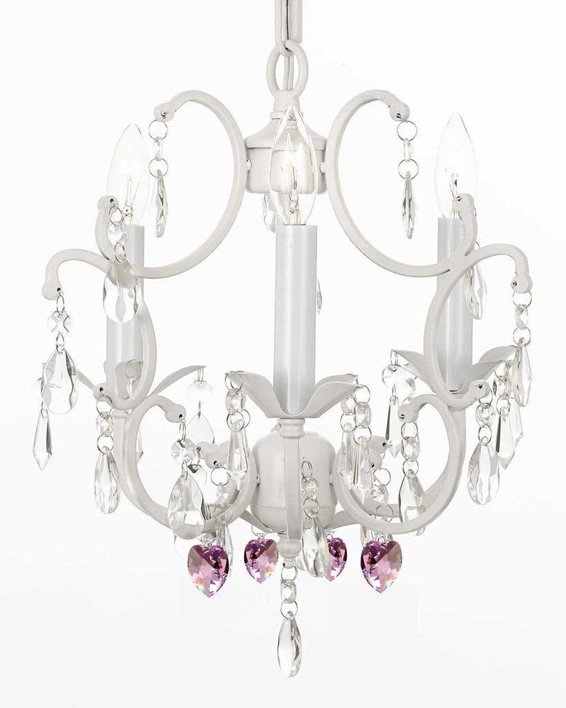 "WHITE WROUGHT IRON CRYSTAL MINI CHANDELIER W/ PINK CRYSTAL HEARTS H14"" x W11"" - G7-B21/WHITE/618/3"