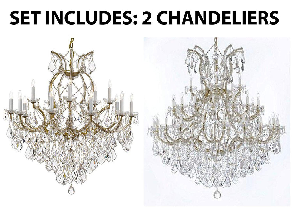 "Set of 2-1 Maria Theresa Crystal Lighting Chandeliers Lights Fixture Ceiling Lamp H38"" X W37"" and 1 Large Foyer/Entryway Maria Theresa Empress Crystal (Tm) Chandeliers Lighting! H 60"" W 52"" - 1/21510/15+1 + B12/2756/36+1"