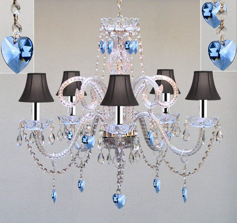 "Authentic All Crystal Chandelier Chandeliers Lighting with Sapphire Blue Crystal Hearts and Black Shades! Perfect for Living Room, Dining Room, Kitchen, Kid's Bedroom w/Chrome Sleeves! H25"" W24"" - A46-B43/B85/BLACKSHADES/387/5"