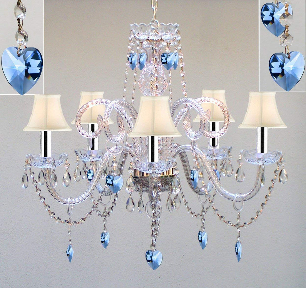 "Authentic All Crystal Chandelier Chandeliers Lighting with Sapphire Blue Crystal Hearts and White Shades! Perfect for Living Room, Dining Room, Kitchen, Kid's Bedroom w/Chrome Sleeves! H25"" W24"" - A46-B43/B85/WHITESHADES/387/5"
