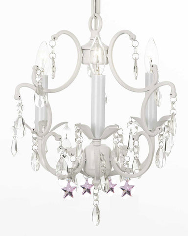 "White Wrought Iron Crystal Chandelier Lighting with Pink Stars H14"" W11"" Swag Plug In-chandelier w/ 14' Feet of Hanging Chain and Wire - G7-B17/B38/WHITE/618/3"