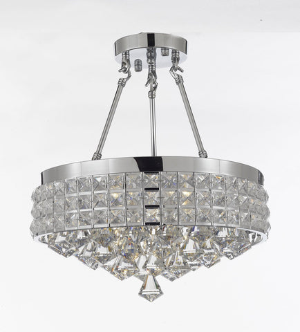 Semi Flush Mount French Empire Crystal Chandelier Chandeliers Lighting Ht 17 X Wd 15 4 Lights Crystal Silver Metal Shade flushmount Rustic Modern - 26004/4