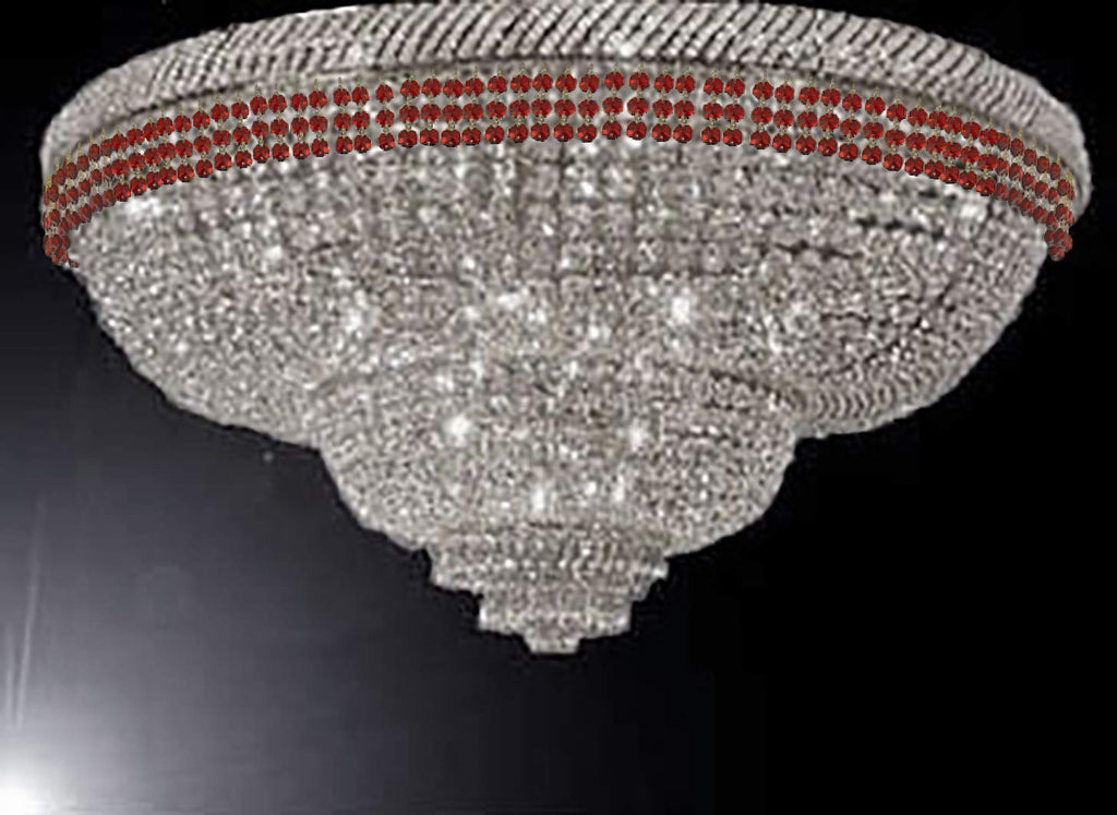 "Flush French Empire Crystal Chandelier Chandeliers Moroccan Style Lighting Trimmed with Ruby Red Crystal! Good for Dining Room, Foyer, Entryway, Family Room and More! H29"" X W50"" - G93-FLUSH/B74/CS/448/48"