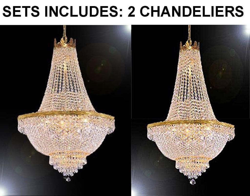 "Set of 2 - 1 French Empire Crystal Chandelier Lighting-Great for the Dining Room! H30"" X W24"" and 1 French Empire Crystal Chandelier Lighting-Great for the Dining Room! H50"" X W24"" - 1 EA GO-A93-870/9 + 1 EA F93-C7/CG/870/9"