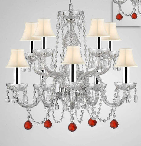"Chandelier Lighting Crystal Chandeliers H25""XW24"" 10 Lights w/Chrome Sleeves - Dressed w/Ruby Red Crystal Balls! Great for Dining Room, Foyer, Entry Way, Living Room, Bedroom, Kitchen! w/White Shades - G46-B43/B96/WHITESHADES/CS/1122/5+5"
