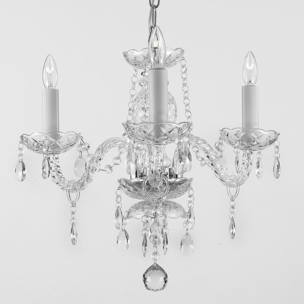 Authentic All Crystal Chandelier Lighting Silver 13hx12w 3 Lights Fixture Pendant Ceiling Lamp Murano - J10-275/3 SILVER