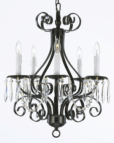 Wrought Iron Crystal Chandelier Lighting Country French 5 Light Ceiling Fixture Wrought Country French Mini Kitchen - CL/30175/5 BK