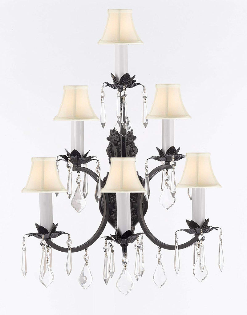 Wrought Iron Wall Sconce Crystal Lighting 3 Tier Wall Sconces W16 x H24 w/White Shades - A83-WHITESHADES/6/3034