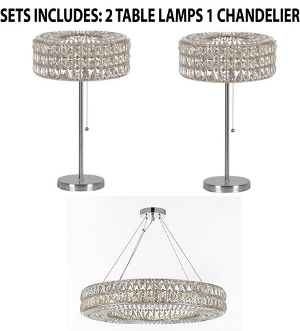 "Set of 3 - 2 Crystal Spiridon Ring Modern / Contemporary Table Lamp Lighting H 28"" W15"" & 1 Crystal Spiridon Ring Chandelier Modern / Contemporary Lighting Pendant 32"" Wide - Good for Dining Room! - 2 EA TL/3063/3 + 1 EA 3063/12"