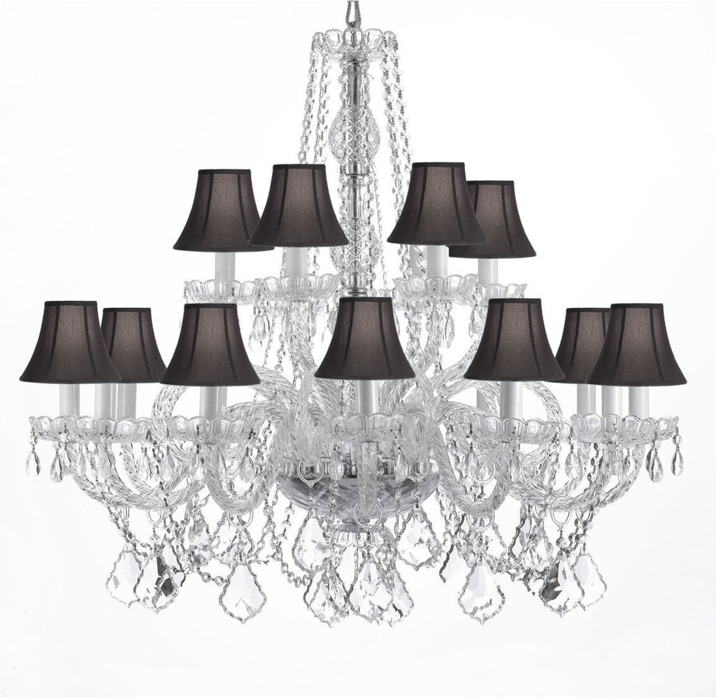 "All Authentic Crystal Chandelier Lighting With Black Shades H 38"" x W 37"" - A46-BLACKSHADES/CS/385/9+9"