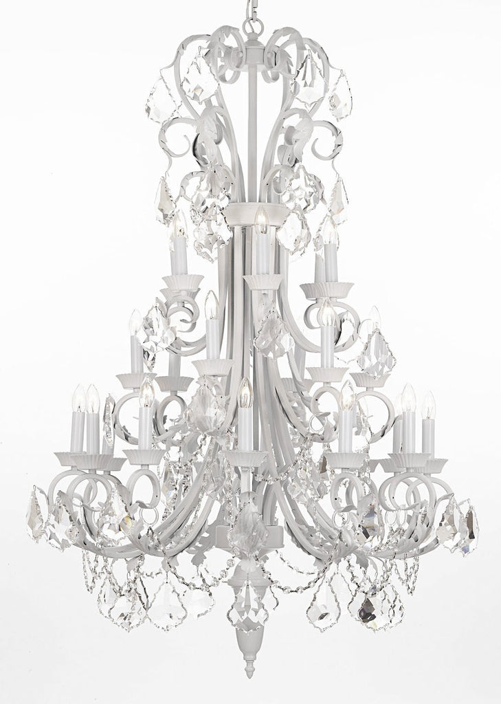 "Wrought Iron Chandelier 50"" Inches Tall With Crystal Trimmed With Spectra (T... - J10-B12/WHITE/26015/24SW"