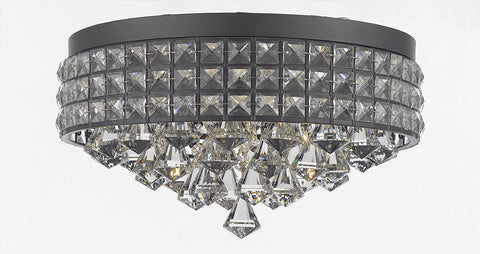 Flush Mount French Empire Crystal Chandelier Chandeliers Lighting Ht 8 X Wd 15 4 Lights Crystal Iron Metal Shade Rustic Modern Flush - Flush/26003/4