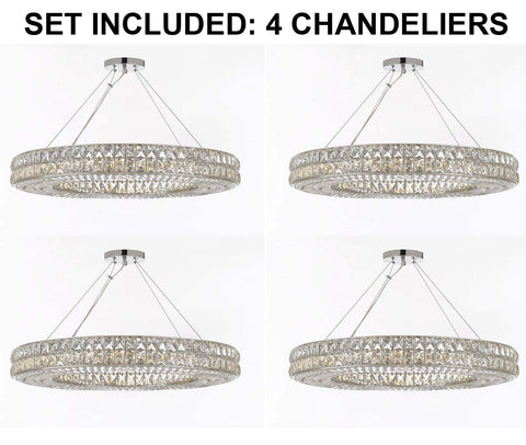 "Set of 4 - Crystal Nimbus Ring Chandelier Chandeliers Modern/Contemporary Lighting Pendant 44"" Wide - Good for Dining Room, Foyer, Entryway, Family Room and More! - 4EA GB104-3063/17"
