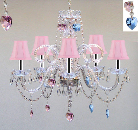 "Chandelier Lighting W/Crystal Pink Shades & Blue and Pink Hearts W/Chrome Sleeves! H25"" x W24"" - Perfect for Kid's and Girls Bedroom! - GO-B43/A46-PINKSHADES/B85/B21/387/5"