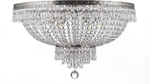 "Flush Basket French Empire Crystal Chandelier Lighting H27"" X W44"" - A93-Flush/Cs/870/24"