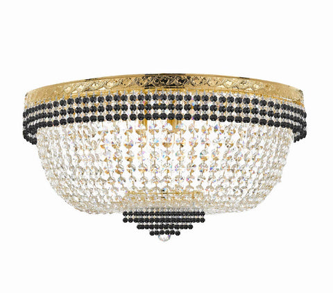 "Nail Salon French Empire Crystal Flush Chandelier Lighting Dressed with Jet Black Crystal Balls - Great for The Dining Room, Foyer, Entryway and More! H 20"" W 36"" 25 Lights - G93-B75/FLUSH/CG/4199/25"