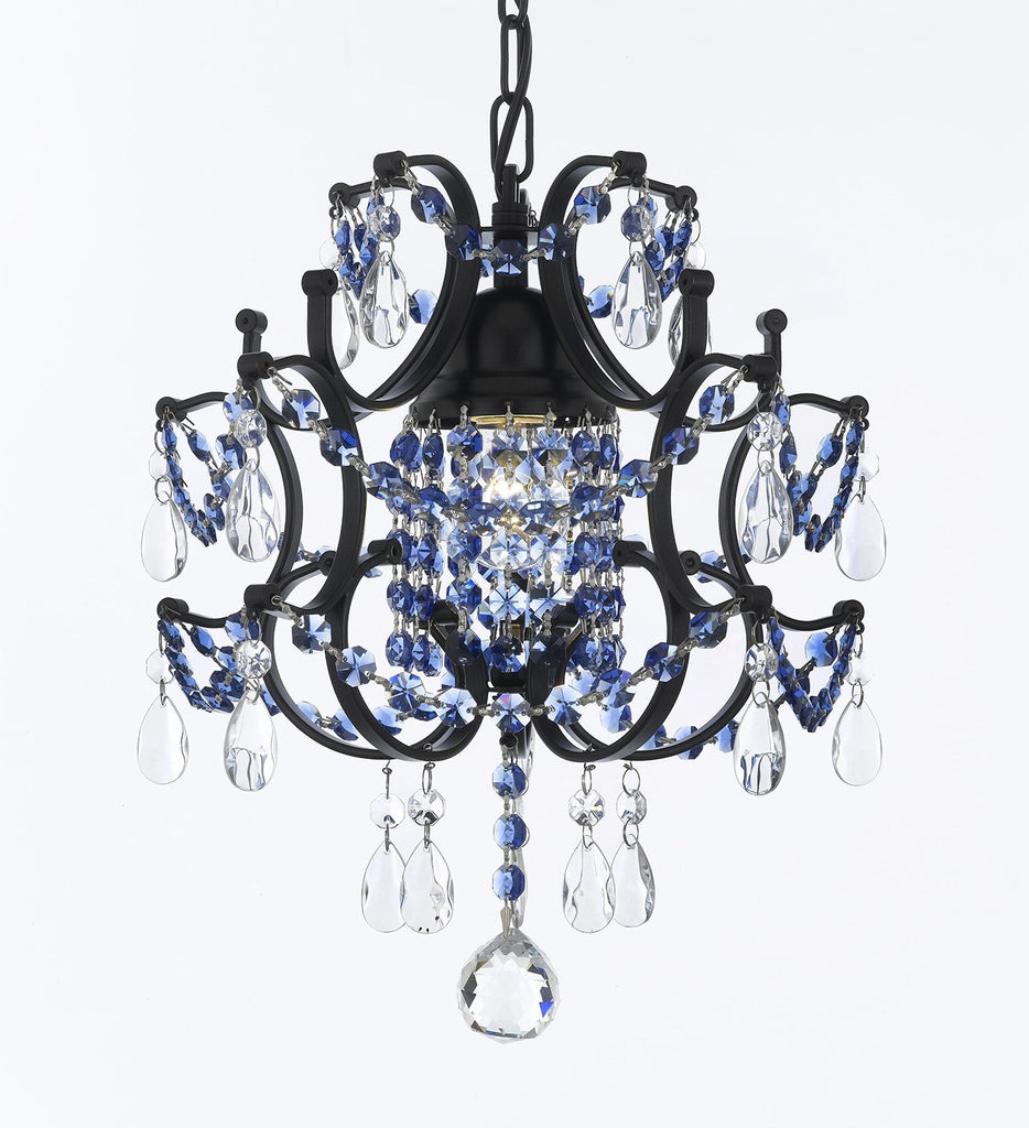 "CHANDELIER WROUGHT IRON CRYSTAL CHANDELIERS H14"" W11"" - DRESSED WITH SAPPHIRE BLUE CRYSTAL - J10-B82/26030/1"