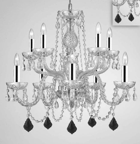 "Chandelier Lighting Crystal Chandeliers H25"" X W24"" 10 Lights w/Chrome Sleeves - Dressed w/Jet Black Crystals! Great for Dining Room, Foyer, Entry Way, Living Room, Bedroom, Kitchen! - G46-B43/B97/CS/1122/5+5"