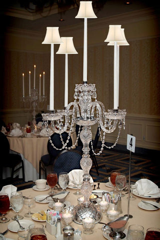 SET OF 10 WEDDING CANDELABRAS CANDELABRA CENTERPIECE CENTERPIECES - GREAT FOR SPECIAL EVENTS! - SET OF 10 w/WHITE SHADES - G46-CANDLE/WHITESHADES/536/5-Set of 10