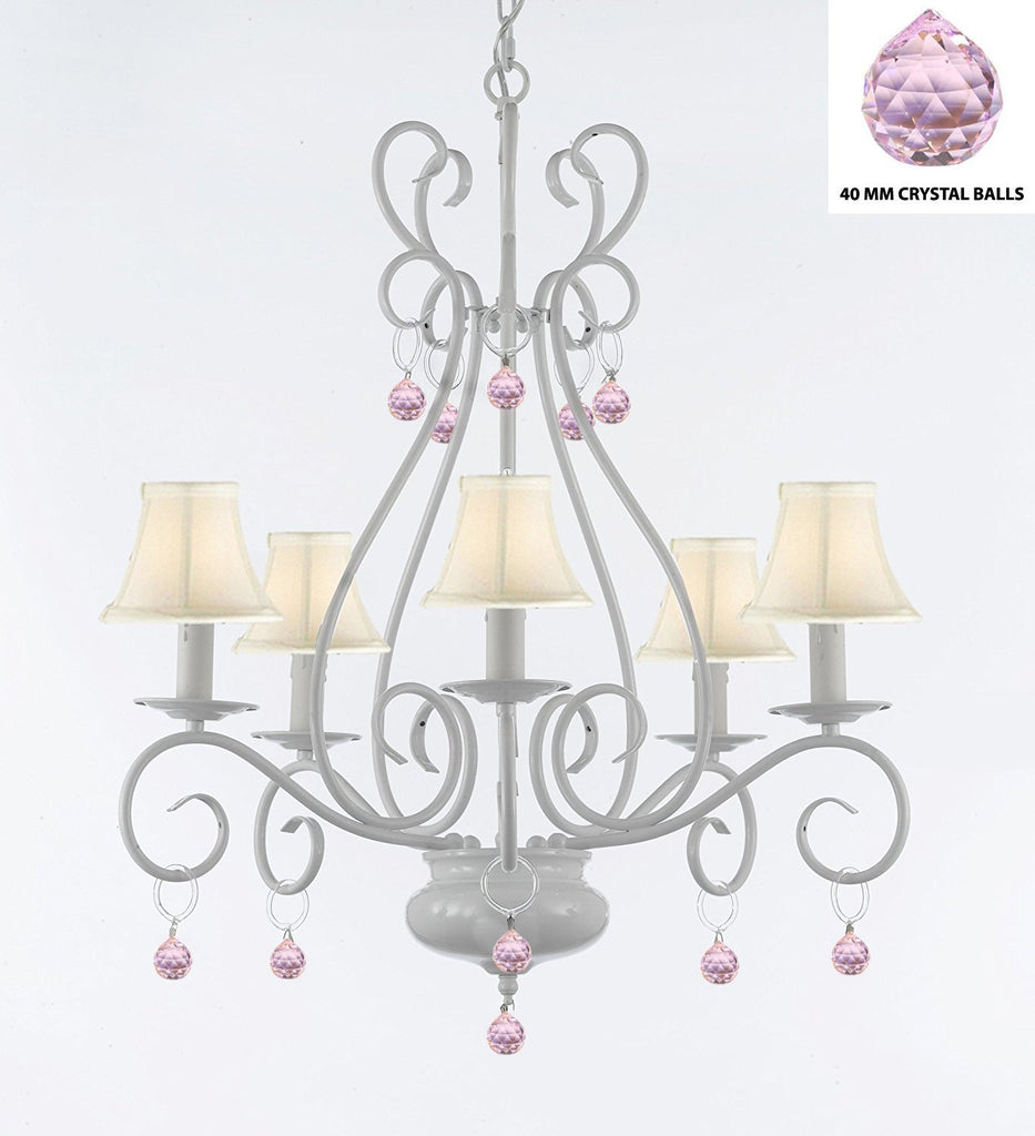 WROUGHT IRON CHANDELIER WITH PINK BALLS  - P7-/White/B76/441/5 /Whiteshades