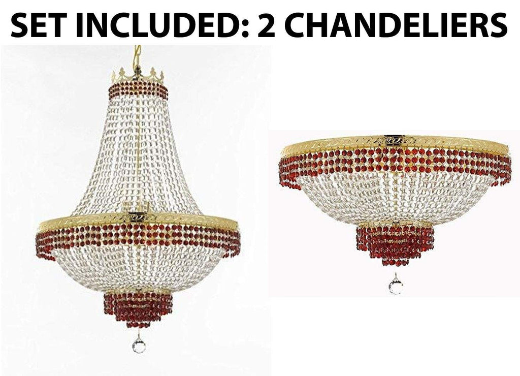 "Set of 2-1 Moroccan Style French Empire Crystal Chandelier Lighting Trimmed w/Ruby Red Crystal! H30"" X W24"" & 1 Flush French Empire Crystal Chandelier Lighting Trimmed w/Ruby Red Crystal! H18"" X W24 - B74/CG/870/9 + B74/CG/FLUSH/870/9"