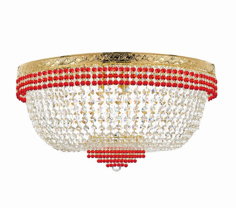 "Nail Salon French Empire Crystal Flush Chandelier Lighting Dressed with Ruby Red Crystal Balls - Great for The Dining Room H 20"" W 36"" 25 Lights - G93-B74/FLUSH/CG/4199/25"