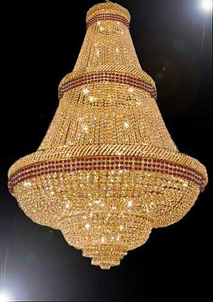 "French Empire Crystal Chandelier Chandeliers Moroccan Style Lighting Trimmed with Ruby Red Crystal! Good for Dining Room, Foyer, Entryway, Family Room and More! H72"" W50"" - G93-B74/CG/448/48"