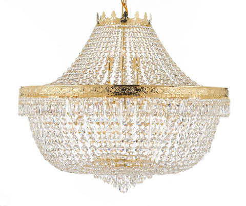 "Nail Salon French Empire Crystal Chandelier Lighting - Great for The Dining Room, Foyer, Entryway, Family Room, Bedroom, Living Room and More! H 30"" W 36"" - G93-H30/CG/4199/25"