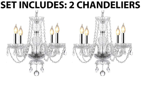 "2pc Lighting Set - Pair of Kitchen Island Mini Empress Crystal (tm) Chandeliers Lighting w/Chrome Sleeves! H17"" x W17"" - 2EA G46-B43/275/4"