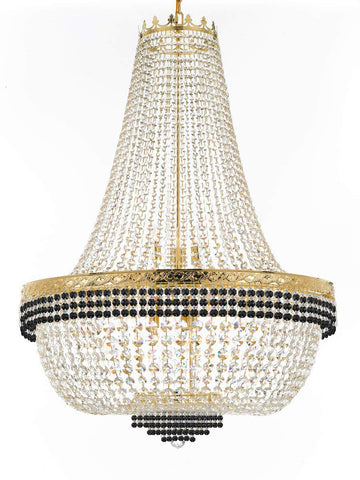 "Nail Salon French Empire Crystal Chandelier Lighting Dressed with Jet Black Crystal Balls - Great for The Dining Room, Foyer, Entryway and More! H 50"" W 36"" 25 Lights - G93-B75/H50/CG/4199/25"