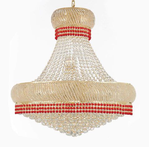 "Nail Salon French Empire Crystal Chandelier Chandeliers Lighting Dressed with Ruby Red Crystal Balls - Great for the Dining Room, Foyer, Entryway, Family Room, Bedroom, Living Room & More! H 36"" W 36"" - G93-B74/H36/CG/4196/27"