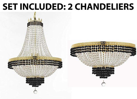 "Set of 2-1 French Empire Crystal Chandelier Lighting Trimmed w/Jet Black Crystal! H30"" X W24"" and 1 Flush French Empire Crystal Chandelier Trimmed with Jet Black Crystal! H18"" X W24"" - B79/CG/870/9 + B79/CG/FLUSH/870/9"