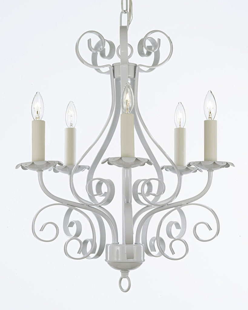 Wrought iron chandelier lighting country french white 5 light wrought iron chandelier lighting country french white 5 light ceiling fixture wrought country french 30175 arubaitofo Images