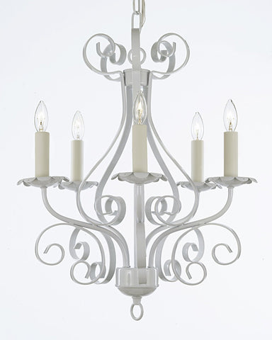 Wrought Iron Chandelier Lighting Country French White 5 Light Ceiling Fixture Wrought Country French - 30175/5 white