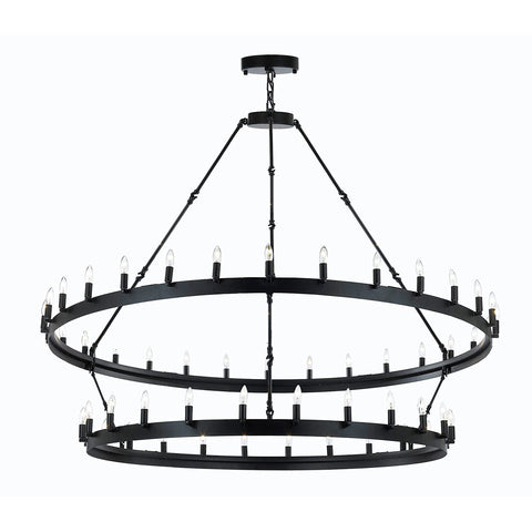 "Wrought Iron Vintage Barn Metal Camino Two Tier Chandelier Industrial Loft Rustic Lighting W63"" x H60"" Great for The Living Room, Dining Room, Foyer and Entryway, Family Room, and More - G7-3428/54"