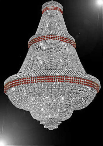 "French Empire Crystal Chandelier Chandeliers Moroccan Style Lighting Trimmed with Ruby Red Crystal! Good for Dining Room, Foyer, Entryway, Family Room and More! H72"" x W50"" - G93-B74/CS/448/48"