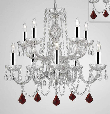 "Chandelier Lighting Crystal Chandeliers H25"" X W24"" 10 Lights w/Chrome Sleeves - Dressed w/Ruby Red Crystals! Great for Dining Room, Foyer, Entry Way, Living Room, Bedroom, Kitchen! - G46-B43/B98/CS/1122/5+5"