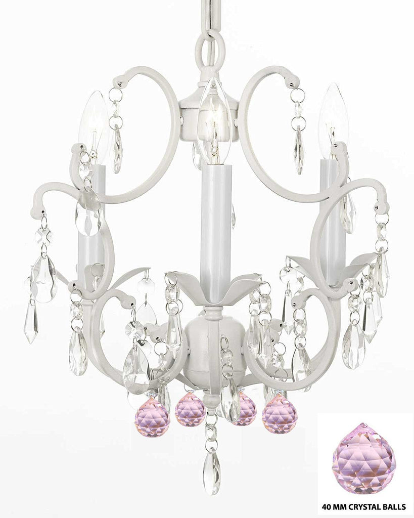 "White Wrought Iron Crystal Mini Chandelier w/ Pink Crystal Balls H14"" X W11"" Swag Plug In-chandelier w/ 14' Feet of Hanging Chain and Wire - G7-B17/B72/WHITE/618/3"